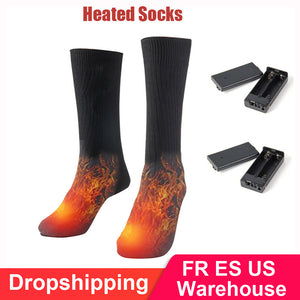 High Quality Thermal Cotton Winter Ski Heated Socks Outdoor Sport Foot Warmer Electric Warming Sock Battery Power