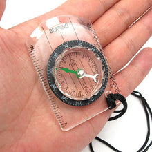 Load image into Gallery viewer, Portable Bussola Brujula Baseplate Ruler Map Scale Camping Hiking Compass
