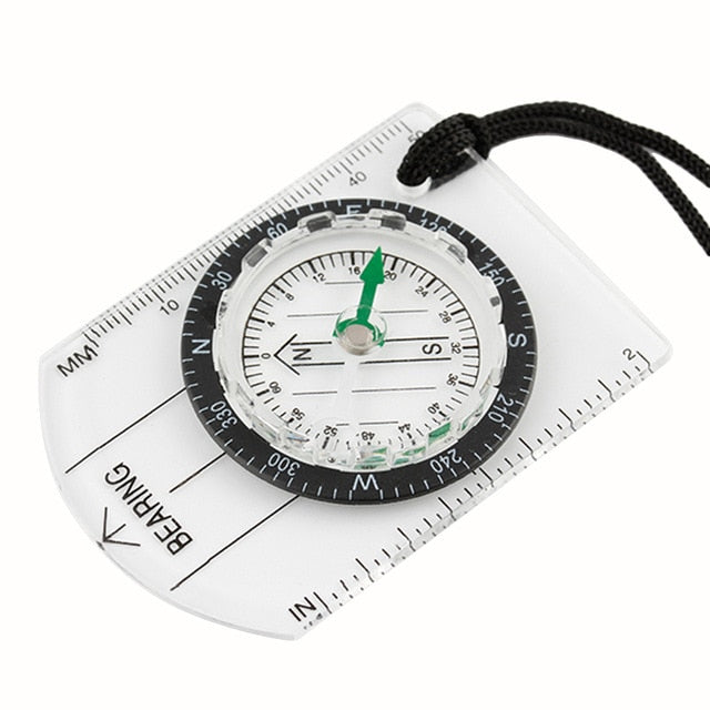 Portable Bussola Brujula Baseplate Ruler Map Scale Camping Hiking Compass