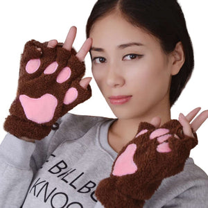 1 Pair Women Girls Lovely Fluffy Bear Cat Plush Paw Claw Half Finger Gloves Mitten