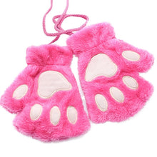 Load image into Gallery viewer, 1 Pair Women Girls Lovely Fluffy Bear Cat Plush Paw Claw Half Finger Gloves Mitten