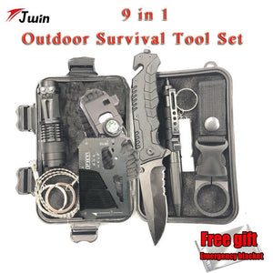 Survival Kit Set 9 in 1  Military Outdoor Tourism Multifunction First aid Survival Kit Knife