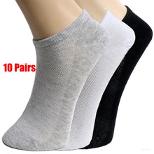 Load image into Gallery viewer, 20Pcs=10Pair Solid Mesh Men's Socks Invisible Ankle Socks