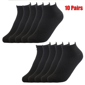 20Pcs=10Pair Solid Mesh Men's Socks Invisible Ankle Socks