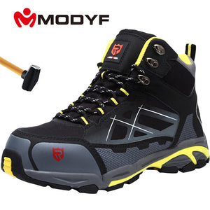 MODYF Mens Steel Toe Work Safety Shoes Lightweight Breathable Anti-smashing Anti-puncture