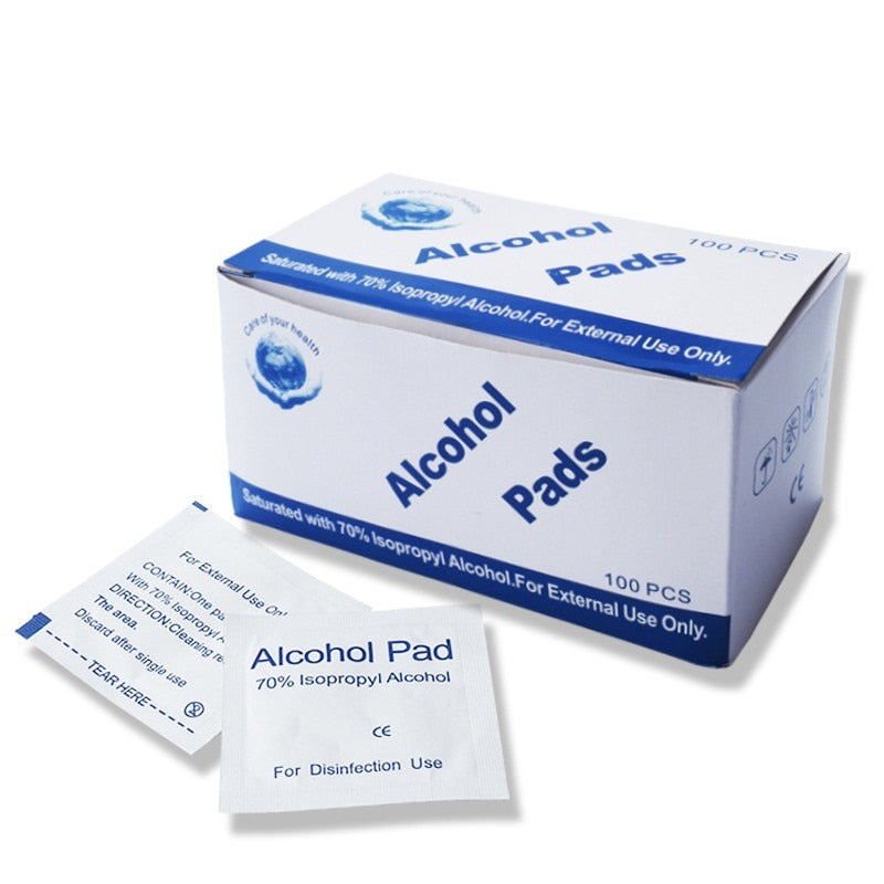 100pcs Alcohol Pad Wet Wipe Disposable Disinfection Swab