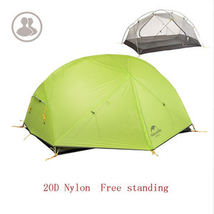 Naturehike 3 Season  Camping Tent 20D Nylon Fabic Double Layer Waterproof Tent for 2 Persons