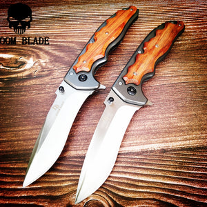 230mm 5CR15MOV Blade Quick Open Knives Portable Tactical Folding Knife Color Wood Handle