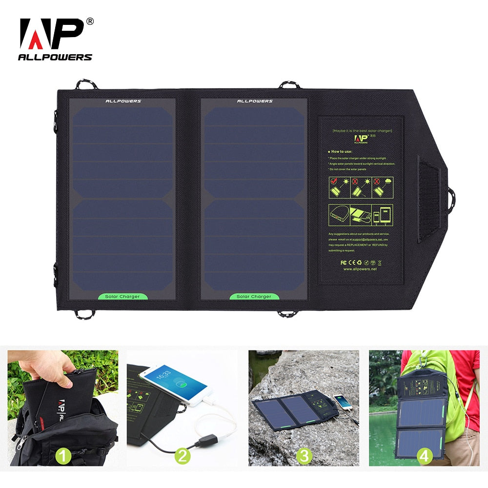 ALLPOWERS Solar Panel 10W 5V Solar Charger Portable Solar Battery Chargers