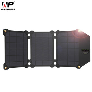 ALLPOWERS 21W Solar Panel Solar Cells Dual USB Solar Charger Batteries Phone Charging for Sony iPhone7 8 X Plus 11Pro iPad