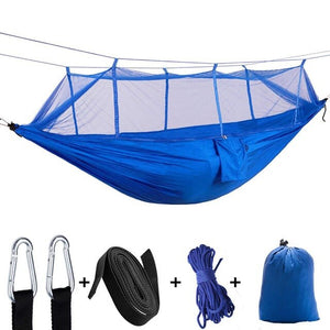 2 Person Portable Outdoor Camping Hammock with Mosquito Net High Strength Parachute Fabric