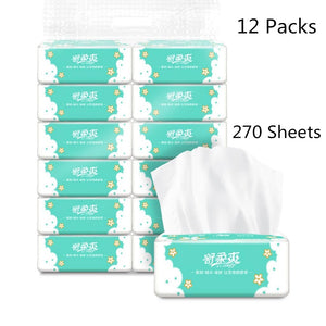 12 Packs 270 Sheets Tissue Paper Household Gentle Skin-friendly