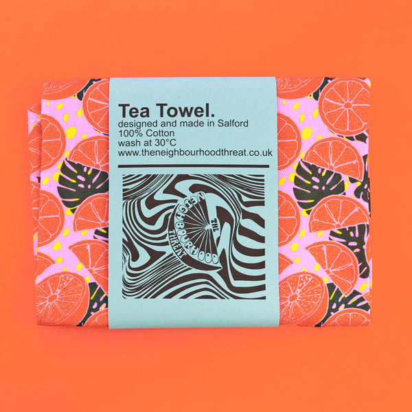 Pink Citrus Print Tea Towel