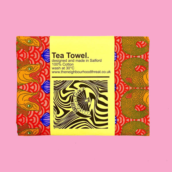 Retro red fish Print Tea Towel