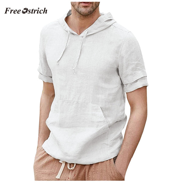 Mens Linen Shirts Pullover Hoodie