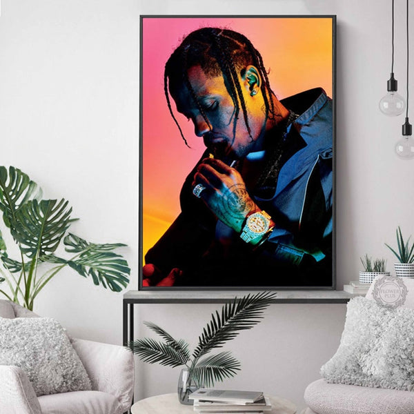 Travis Scott AstroWolrd Music Star Rapper Model Art Painting Silk Poster Wall - MillionMerch