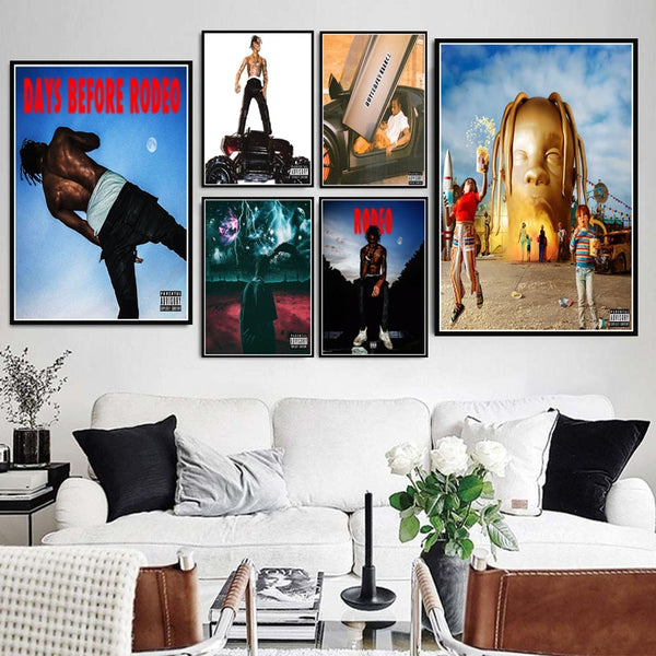 Travis Scott Astroworld Rodeo DAYS Rap Music Album Star Poster & Canvas Painting Wall Picture Home Decor