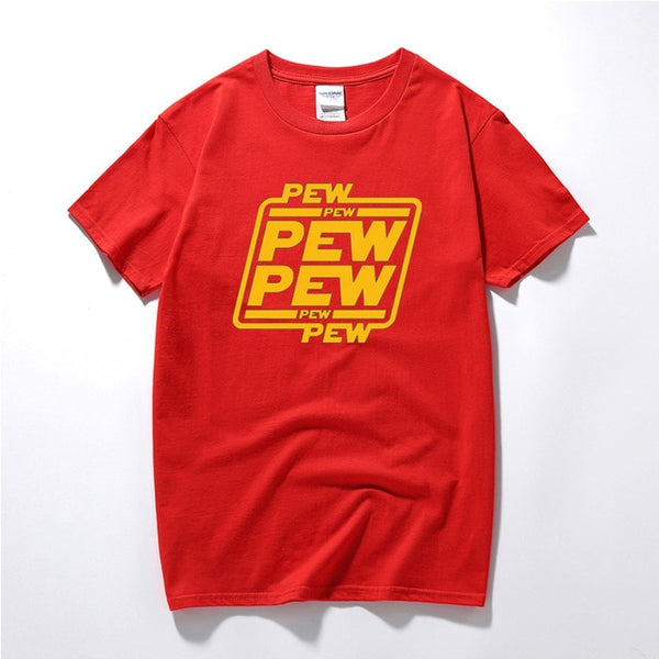 """PEW PEW PEW"" Golden PU Printed T Shirts"