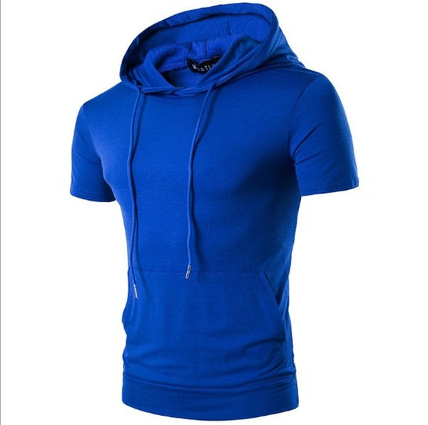 Mens Big Pocket Short Sleeve Hoodie