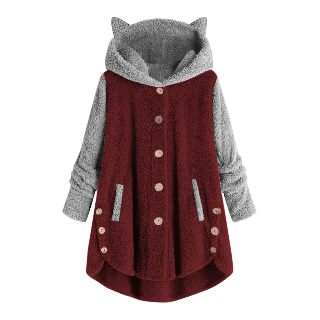 Women Warm Loose Soft Cute Patchwork Coat
