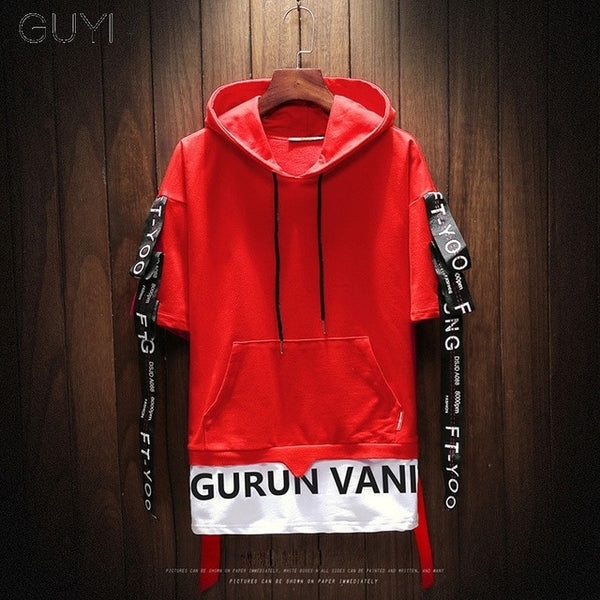 Two Pieces Men Short Sleeve Hoodie
