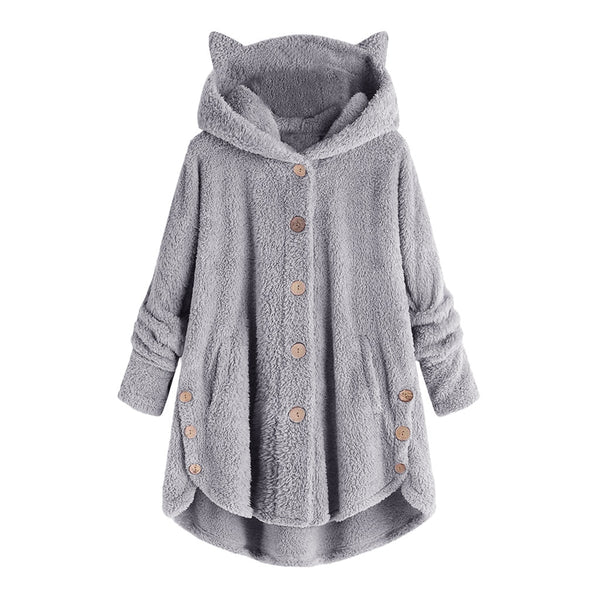 Women Loose Fluffy Cat Ear Hoodie