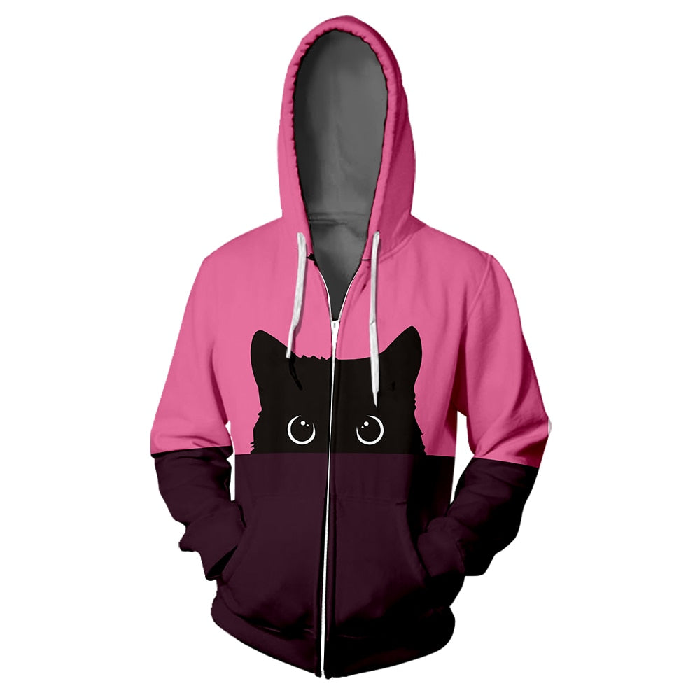 Black Cat Zipper Hoodie