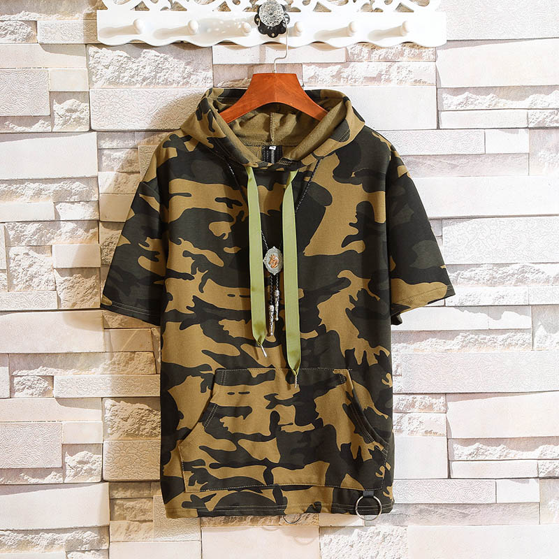 Mens Short Sleeves Camouflage Hoodie
