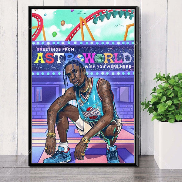 Astroworld Travis Scott Wall Art Canvas Painting Silk Poster - MillionMerch