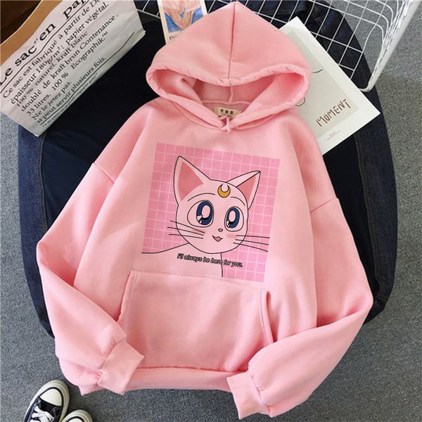 Sailor Moon Anime Cute Cat Hoodie Women