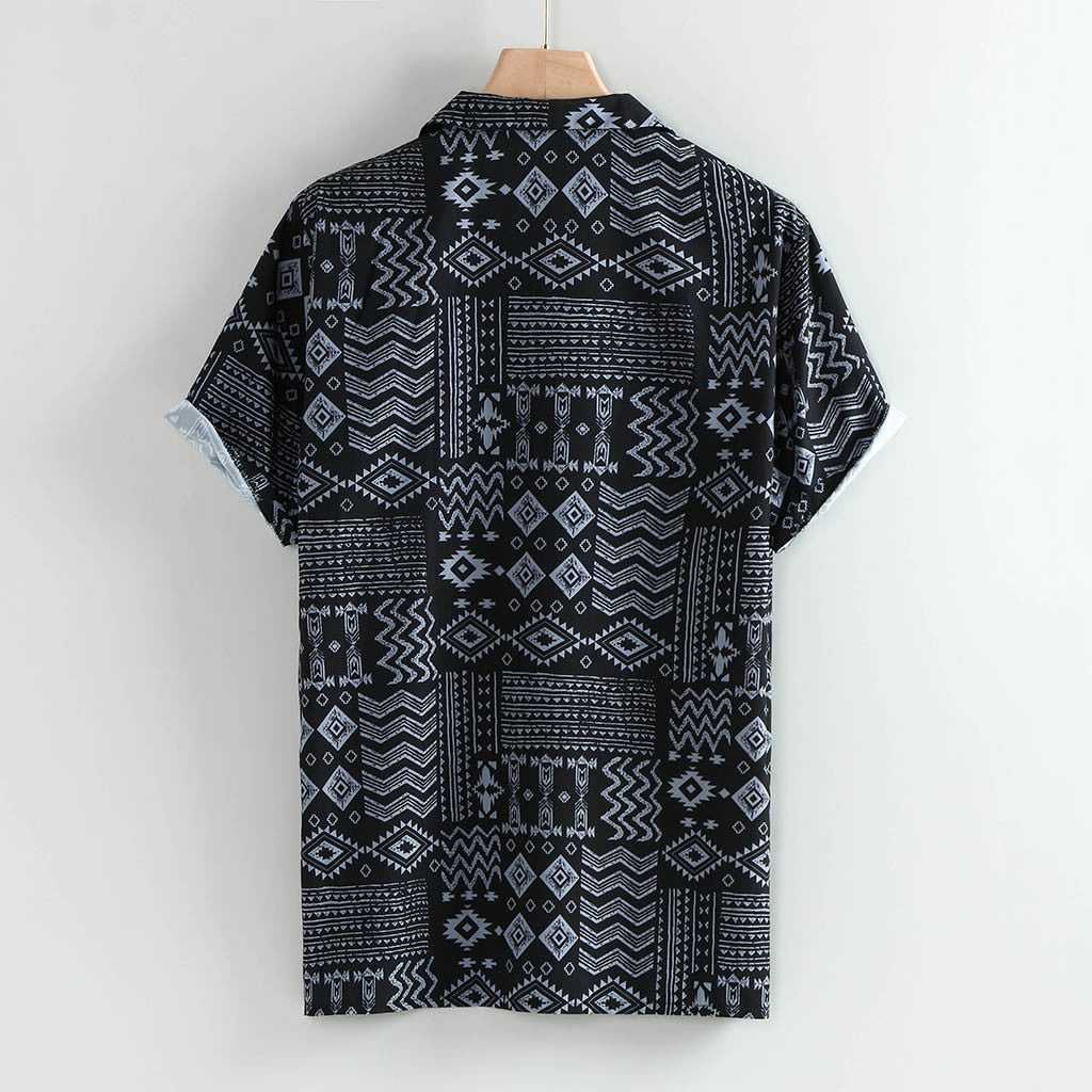 Printed Short Sleeve Casual Loose Button Men T-Shirt