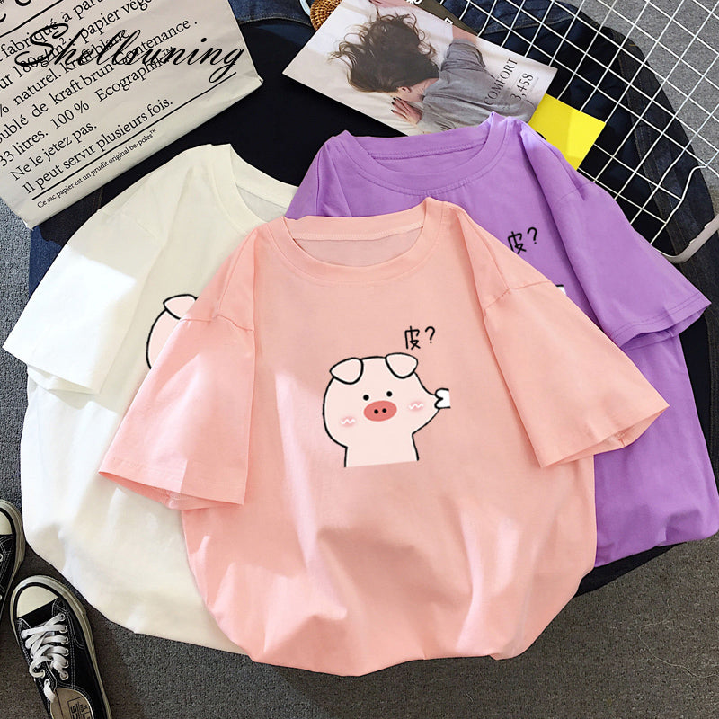 Shellsuning 6 Color Tee Summer Pig Kawaii Cartoon Oversized Pullover Jumper Female Casual Soft Harajuku Elasticity T Shirt Women - MillionMerch