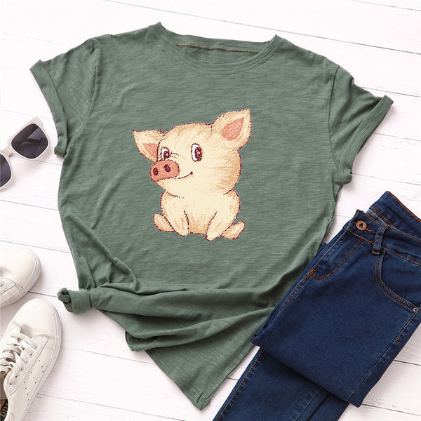 Cute Pig Printed Casual Female Top Tees