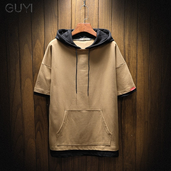 Men Casual Male Short Sleeve Hoodie