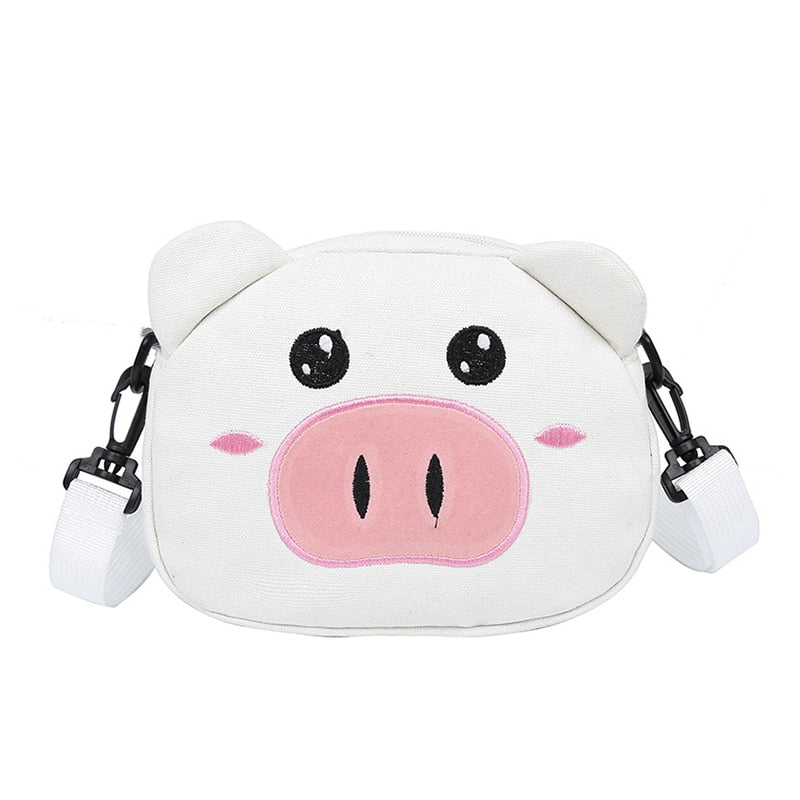 Pig Shape Crossbody Bag Cute Canvas Zipper for Mobile Phone