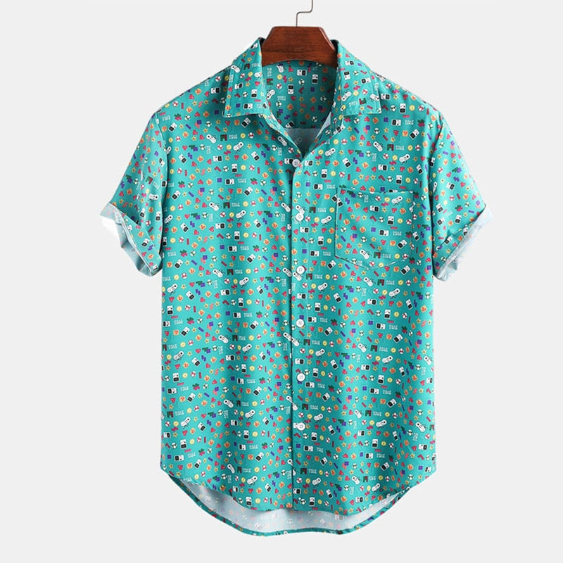 Short Sleeve Lapel Neck Beach Shirt for Men