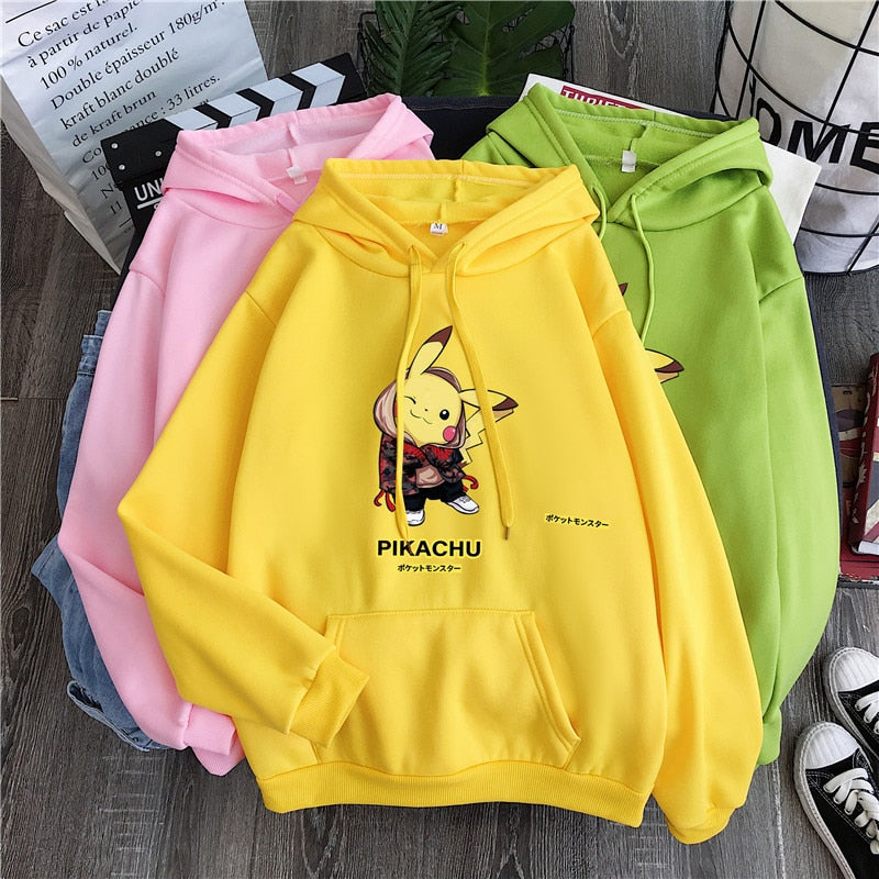 Fashion Cute Pikachu Print Long Sleeve O-neck Hoodie