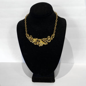 Gold Tone Floral Design Necklace