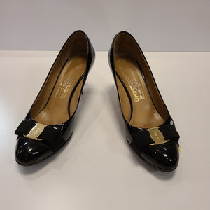 Ferragamo Patent Leather Bow Front Heels