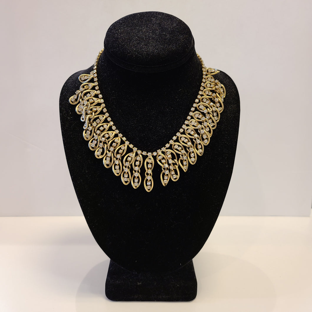 Gold Link Rhinestone Necklace