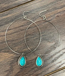Natural Drop Turquoise Hoop Earrings