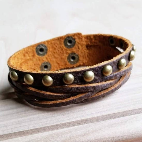 Multi-Strand Leather Cuff with Antique Gold Studs by Jewelry Junkie