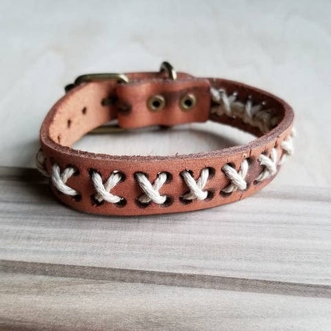Vintage Woven Leather Cuff by Jewelry Junkie