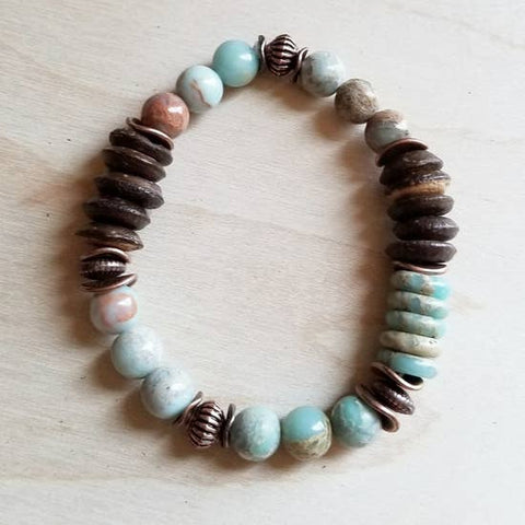 Aqua Terra and Wood Bracelet by Jewelry Junkie