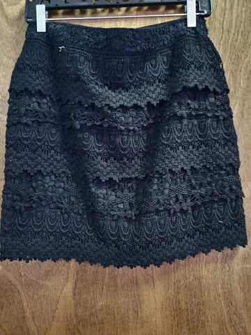 Black Layered Lace Mini Skirt