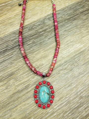 "15"" Long, Multi Tone Natural Turquoise Pendant Necklace"