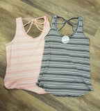 Striped Scoop Neck Tank with Strappy Back