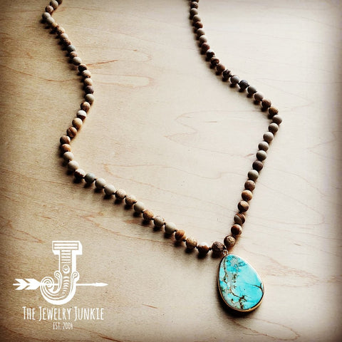 Bohemian Natural JASPER Beaded Necklace with Ocean Agate Pendant