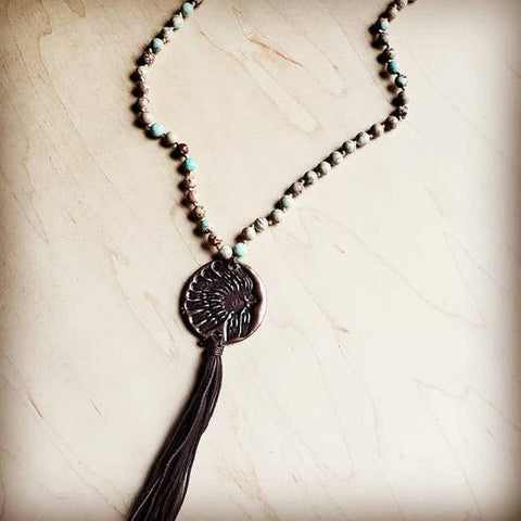 Aqua Terra Long Beaded Necklace with Indian Pendant by Jewelry Junkie