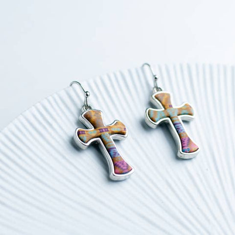 Arizona Blue Reversible Cross Earrings